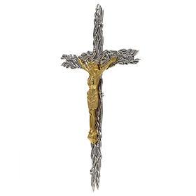 Crucifix en bronze feuilles olivier, fruits s2