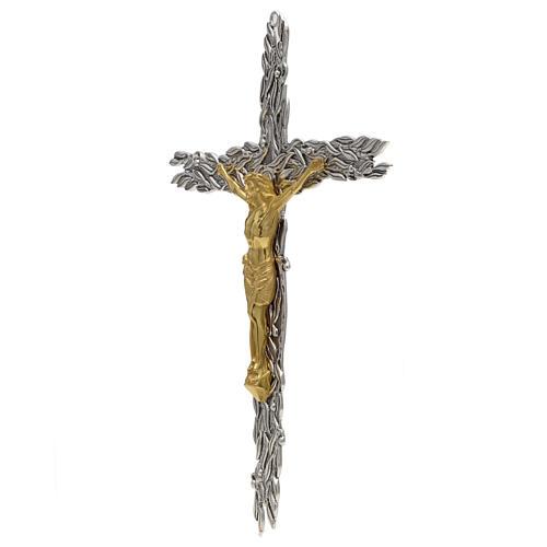 Crucifix en bronze feuilles olivier, fruits 2