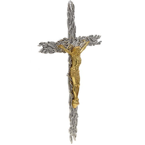 Crucifix en bronze feuilles olivier, fruits 3