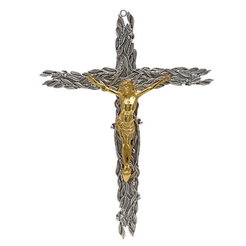 Bronze crucifix with olive leaves and fruits 1