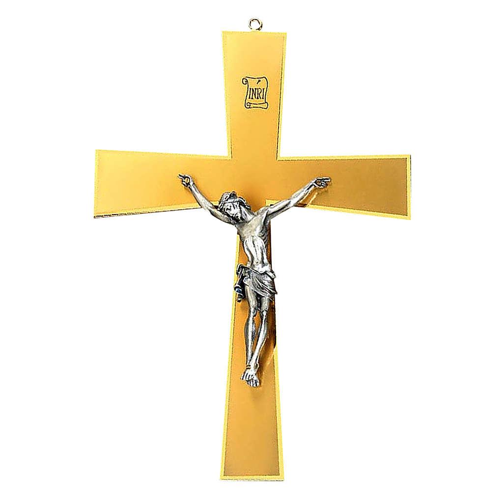 Crucifix mural en laiton doré corps argenté 4