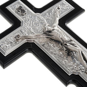 Silver Crucifix on Black Wood s3