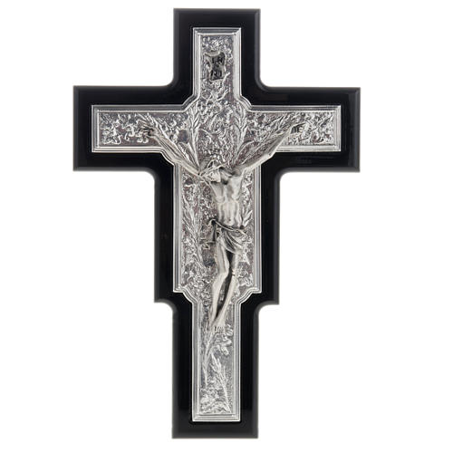 Crucifix in sterling silver on black wood 1