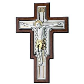 Crocifisso lastra argento e dorato su legno marrone s1