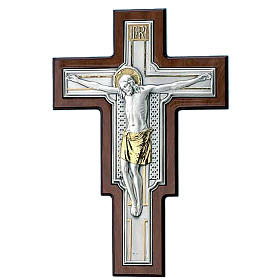 Wall Crucifix, gilded with silver panel on brown wood s1