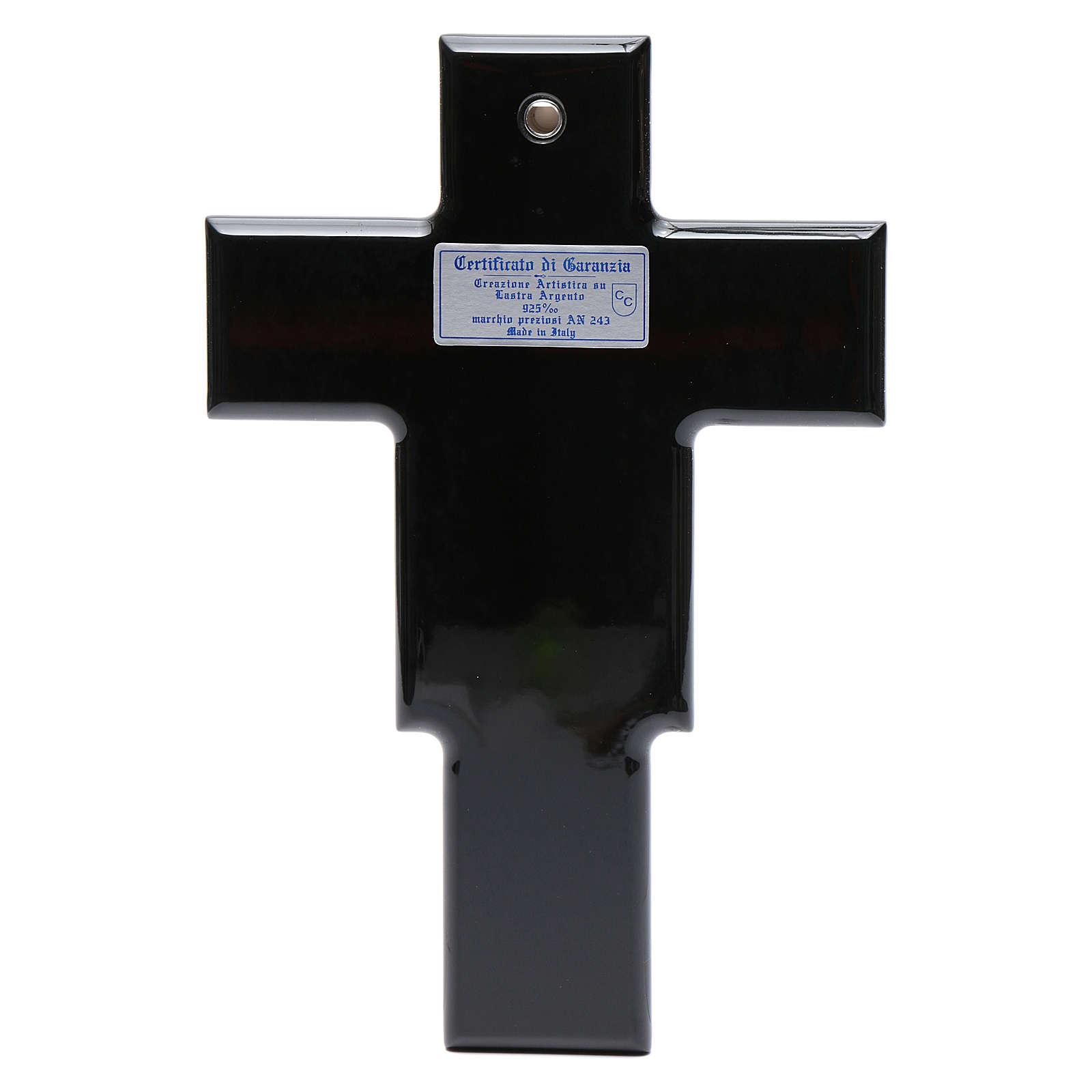 Crucifix doré argenté sur bois 4