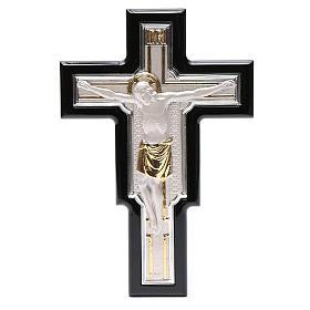Crucifix doré argenté sur bois s1