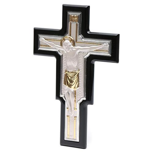 Crucifix doré argenté sur bois 2