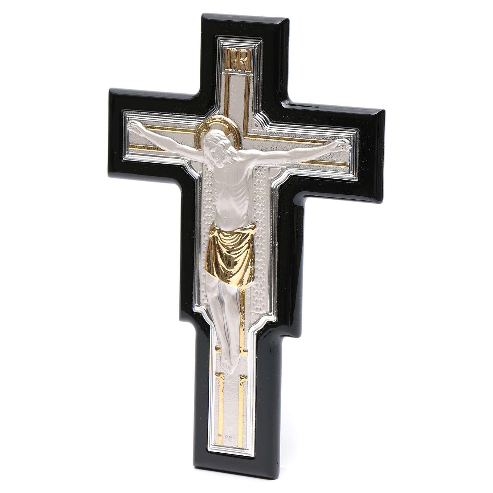 Crocifisso lastra argento e dorato su legno 4