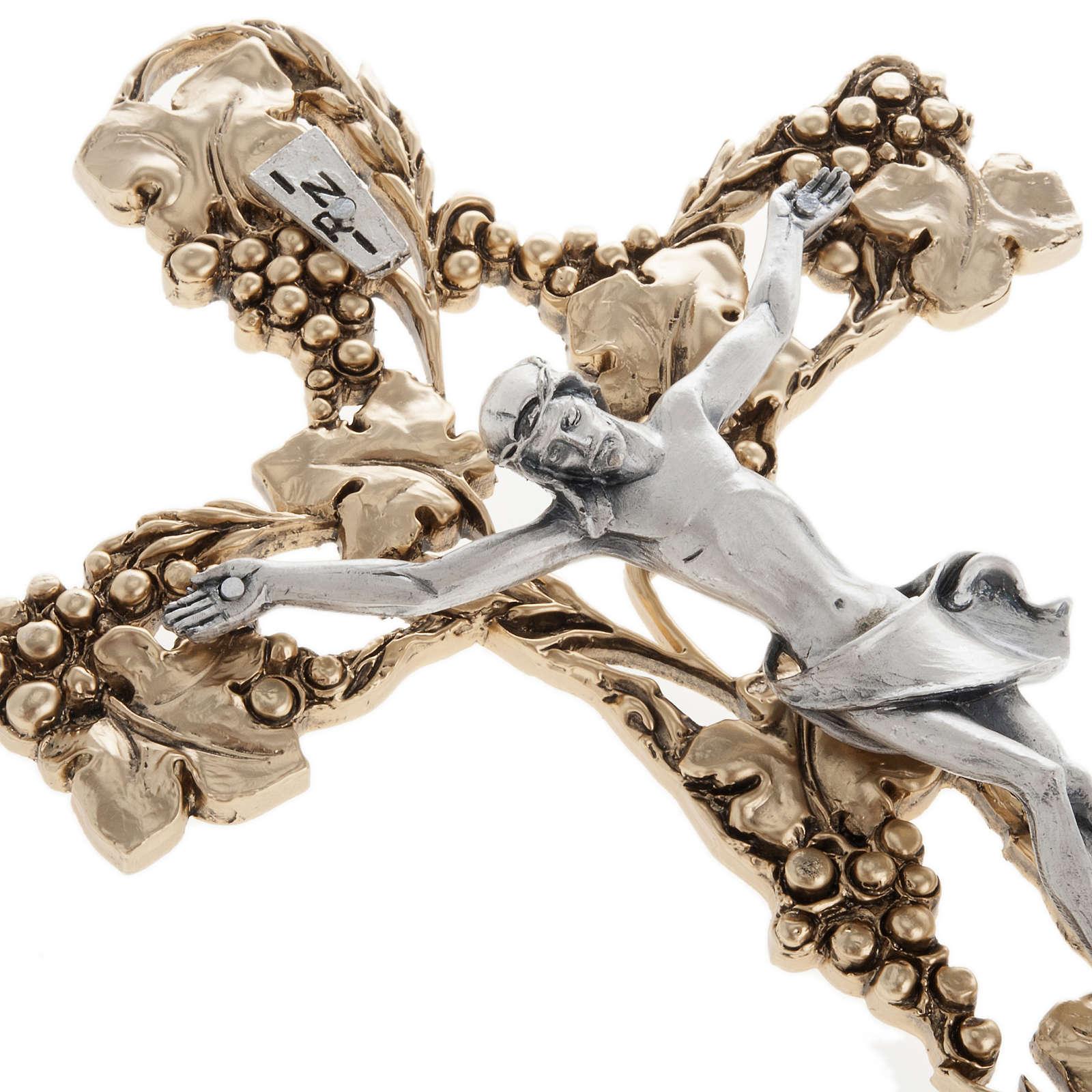 Crucifix doré argenté raisins 24 cm 4