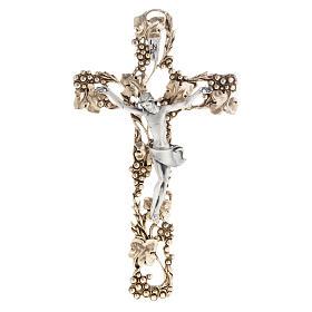 Crucifix doré argenté raisins 24 cm s1