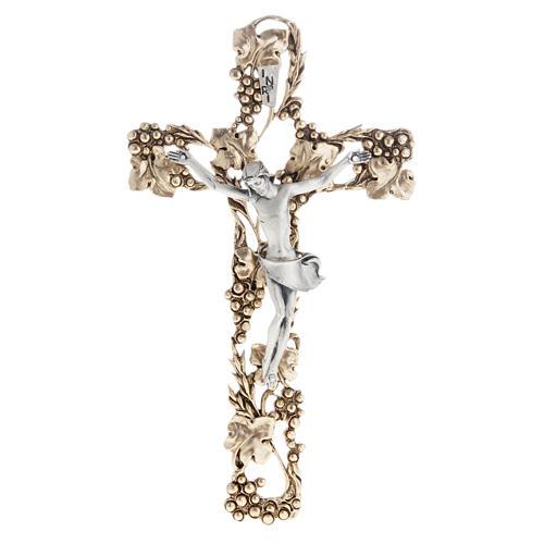 Crucifix doré argenté raisins 24 cm 1