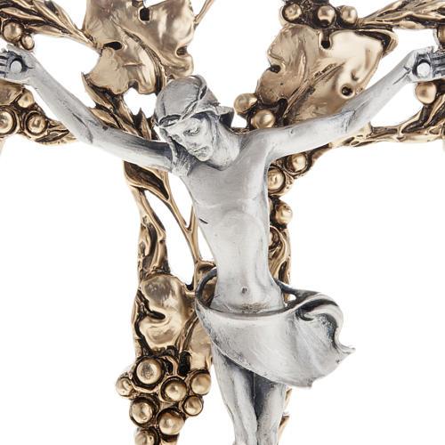 Crucifix doré argenté raisins 24 cm 2