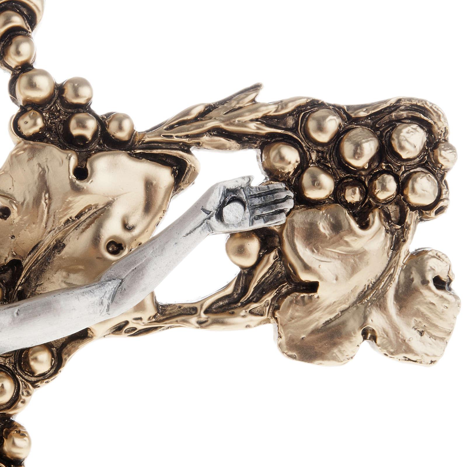 Crocifisso argentato dorato uva e tralci 24 cm 4