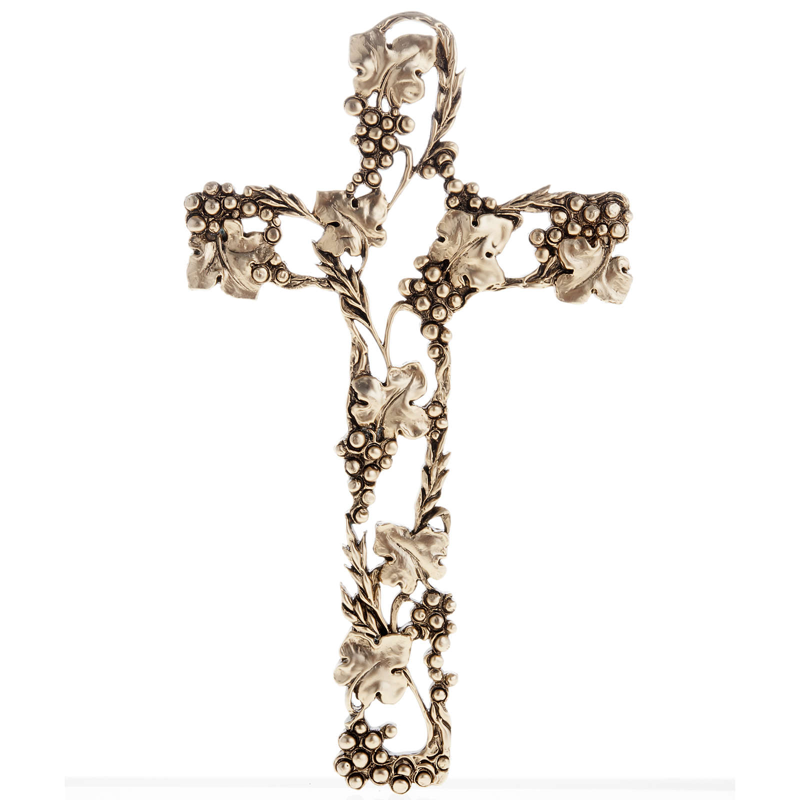 Grapes and Branches Cross in Golden-Colored Metal 4