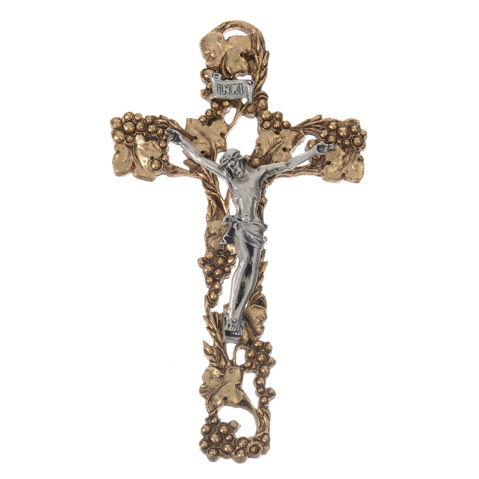Golden and silver-colored Crucifix with grapes and branches 13 cm 4