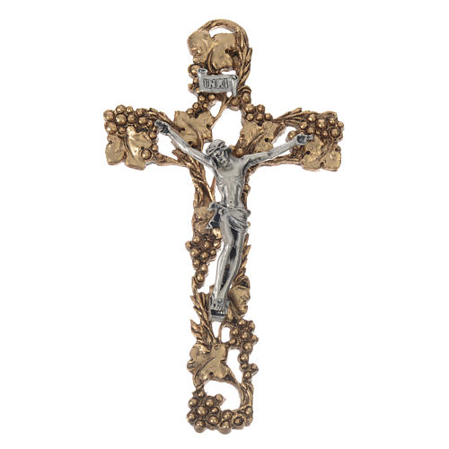 Golden and silver-colored Crucifix with grapes and branches 13 cm 1