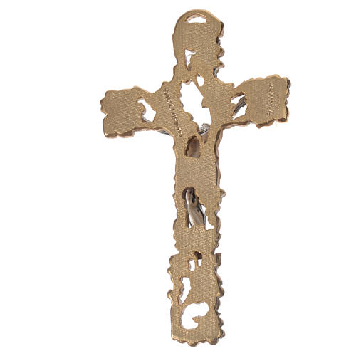 Golden and silver-colored Crucifix with grapes and branches 13 cm 2