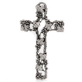 Silver Metal Crucifix with Grapes and Branches 13 cm s1