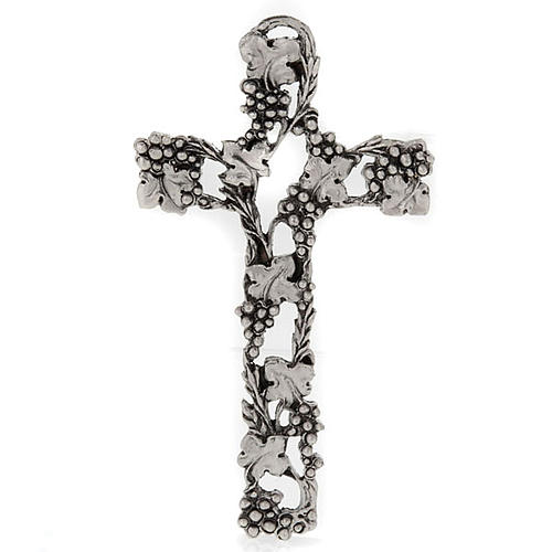 Silver Metal Crucifix with Grapes and Branches 13 cm 1
