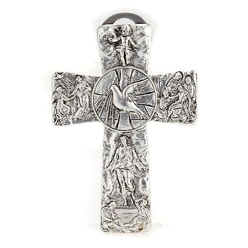 Crucifix argenté resurréction, ascension, saint es 1