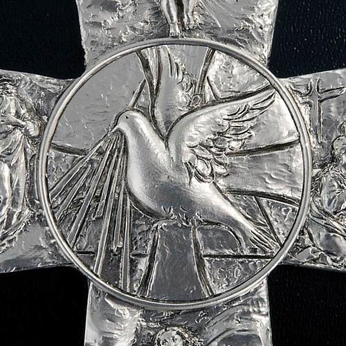 Crucifix argenté resurréction, ascension, saint es 2