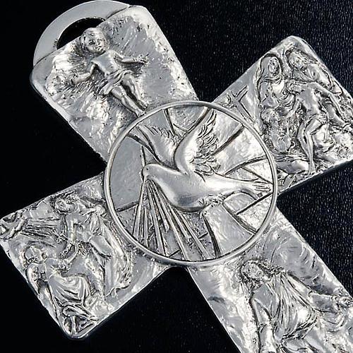 Crucifix argenté resurréction, ascension, saint es 3
