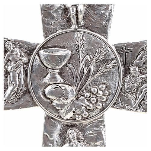 Croce argentata deposizione resurrezione ascensione calice pane 4