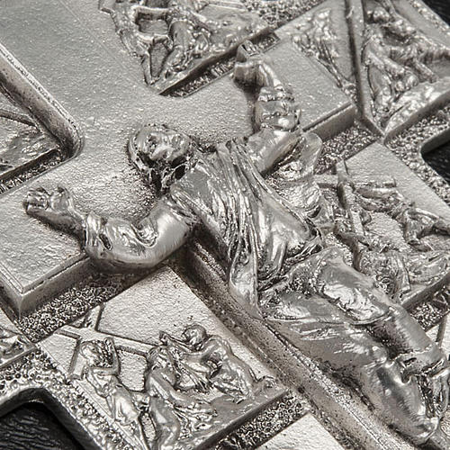 Silver crucifix with 14 Stations of the cross and resurrected Ch 4