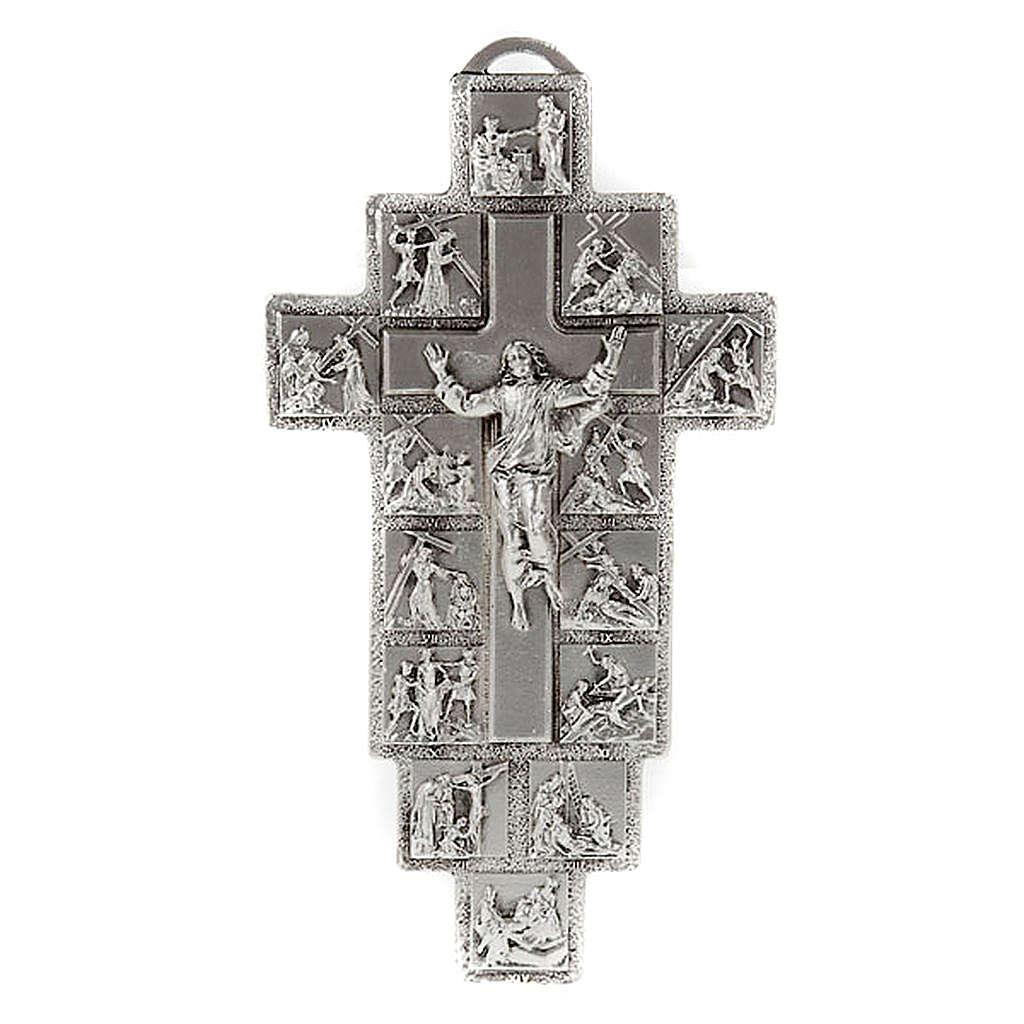 Crucifijo plateado 14 estaciones Vía Crucis y Cristo Resucitado 4