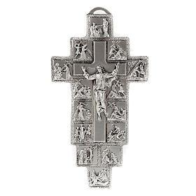 Crucifijo plateado 14 estaciones Vía Crucis y Cristo Resucitado s1
