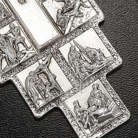 Crucifijo plateado 14 estaciones Vía Crucis y Cristo Resucitado s3