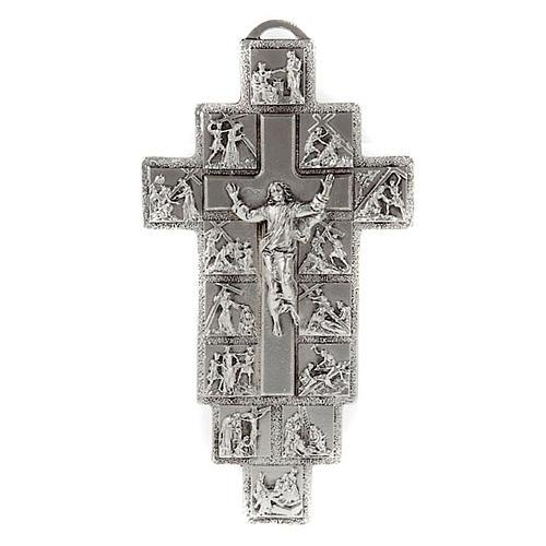 Crucifijo plateado 14 estaciones Vía Crucis y Cristo Resucitado 1