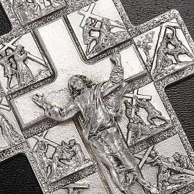 Crocifisso argento 14 stazioni Via Crucis e Cristo Risorto s2
