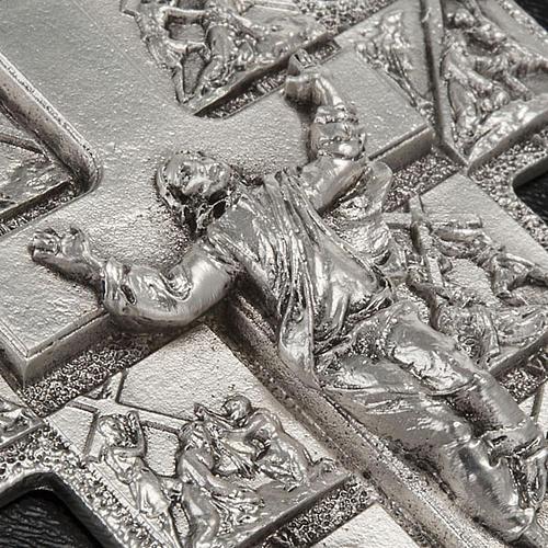 Crocifisso argento 14 stazioni Via Crucis e Cristo Risorto 4