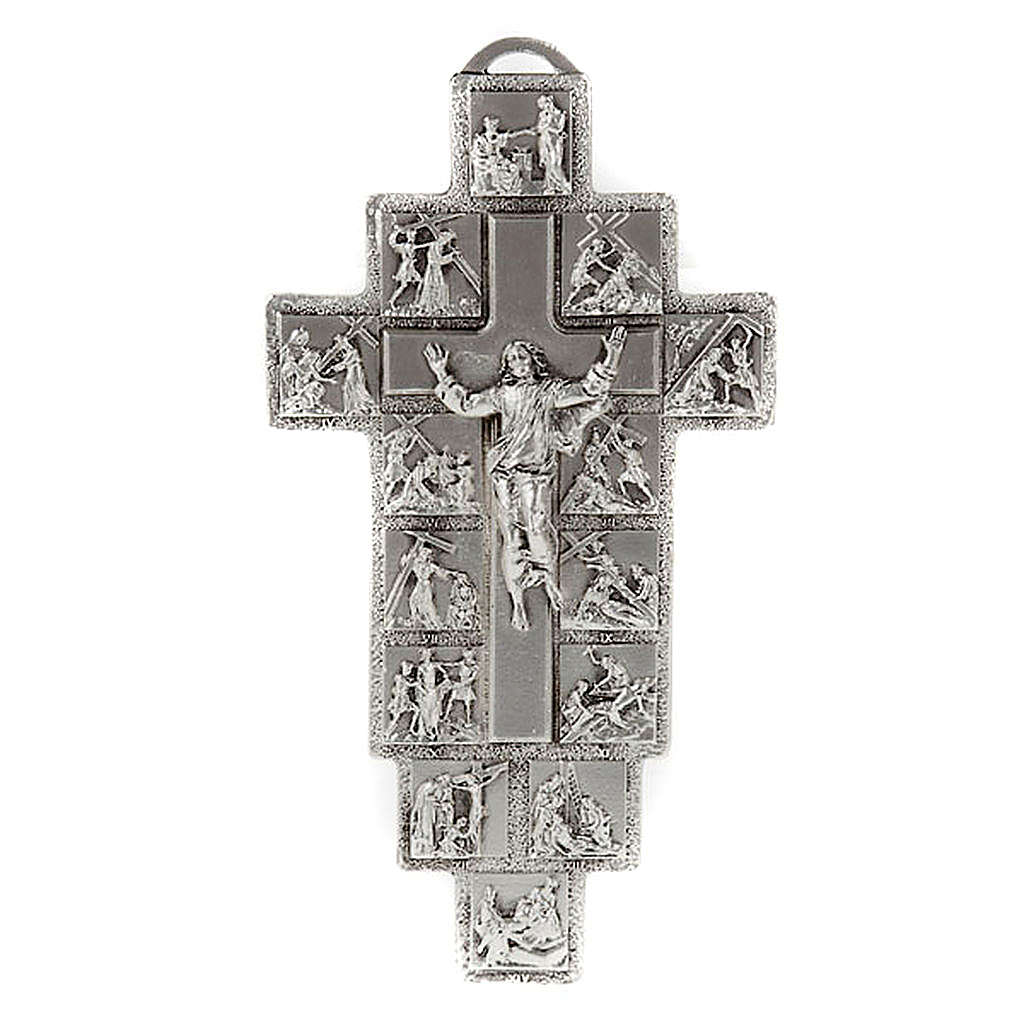 Silver Crucifix with 14 Stations of the Cross and Resurrected Jesus 4