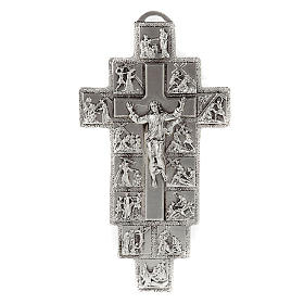 Silver Crucifix with 14 Stations of the Cross and Resurrected Jesus s1