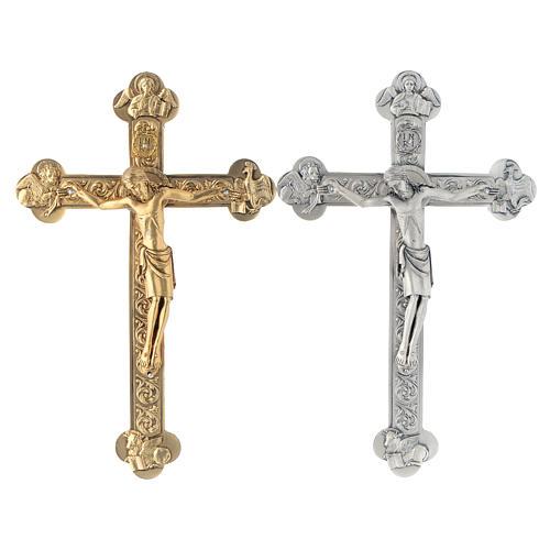 Crocefisso metallo 4 evangelisti dorato o argentato 1