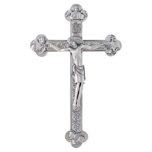 Crocefisso metallo 4 evangelisti dorato o argentato 3