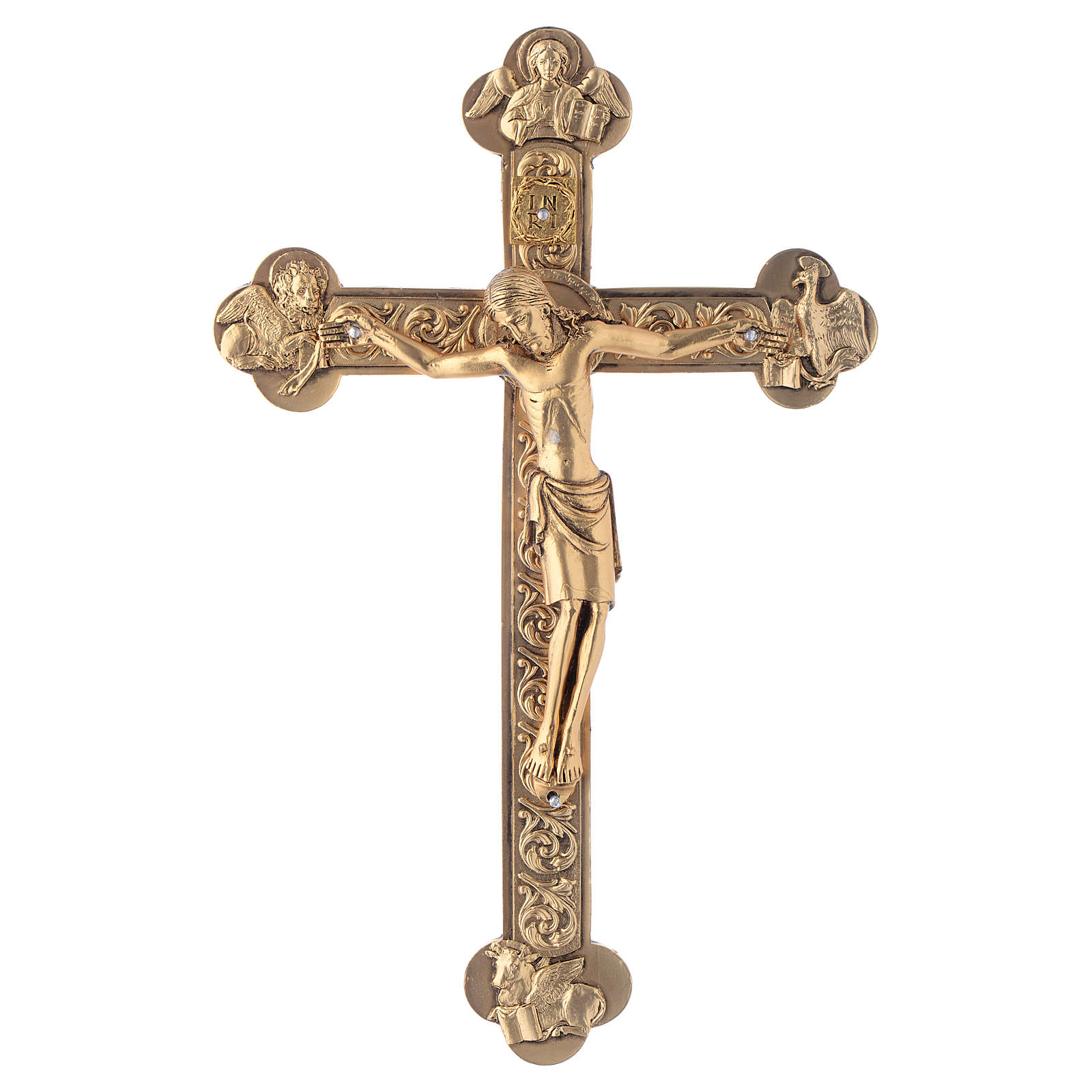 Metal crucifix, silver or gold with 4 Evangelists 4