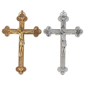 Metal Crucifixes: Metal crucifix, silver or gold, Holy Spirit with grapes chalice