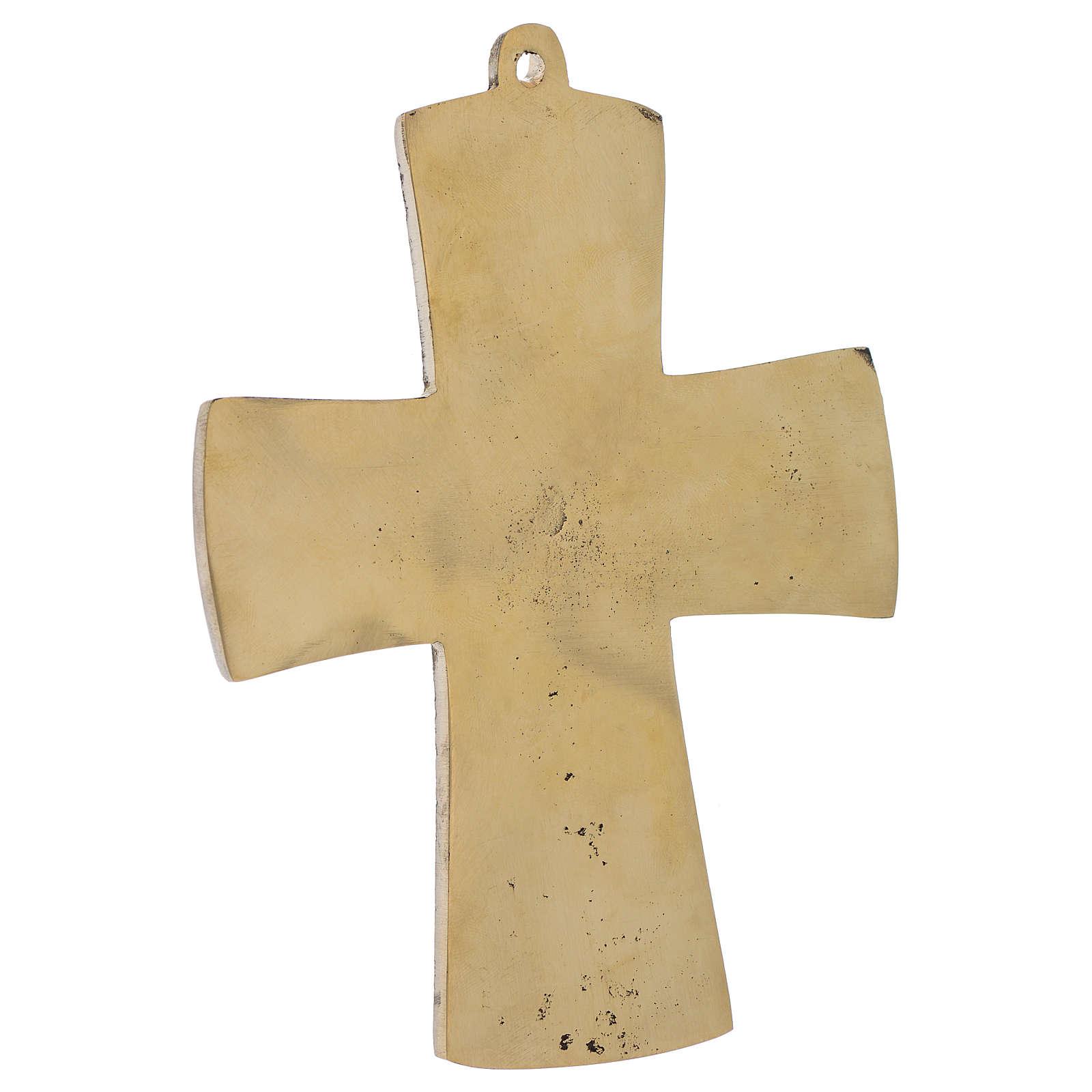 Croix Jésus Grand Prêtre laiton Moines Bethléem 14x10cm 4