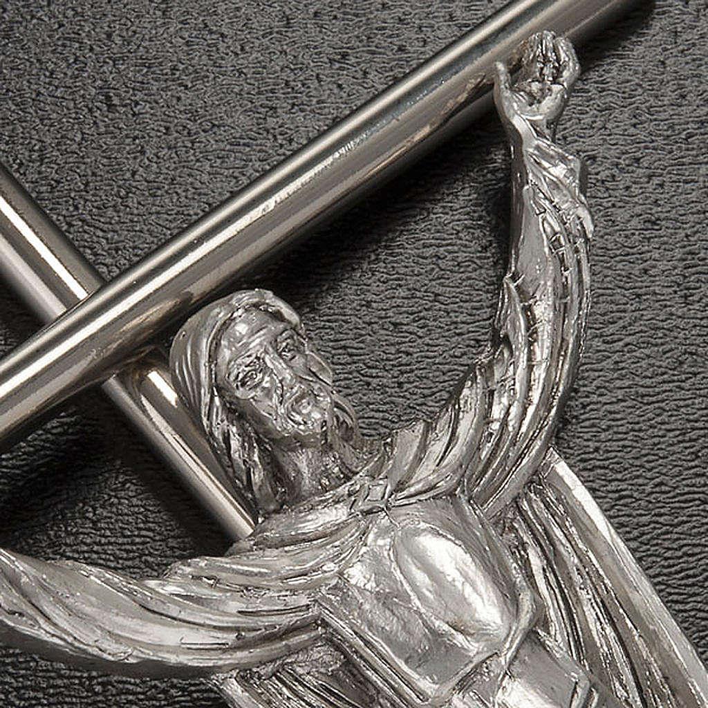 Cristo Risorto croce metallo argentato 4
