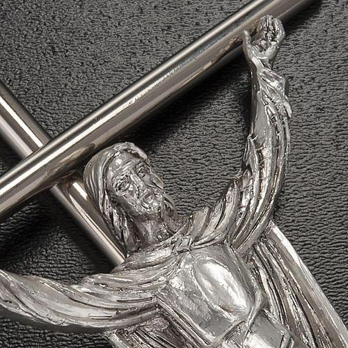 Cristo Risorto croce metallo argentato 2