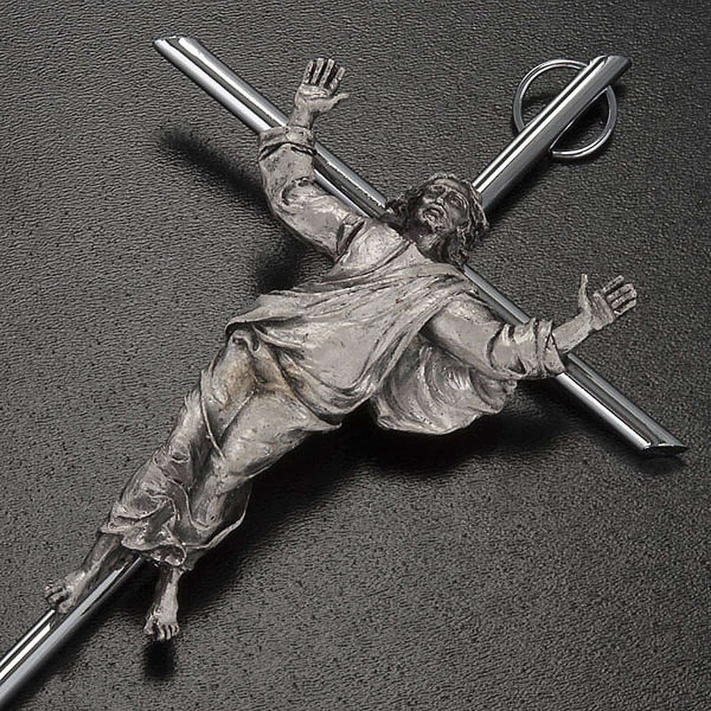 Resurrected Christ Wall Crucifix in silver metal 4