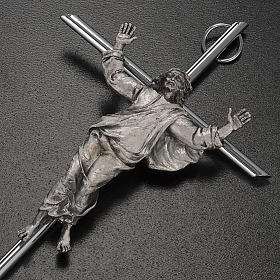 Resurrected Christ Wall Crucifix in silver metal s3