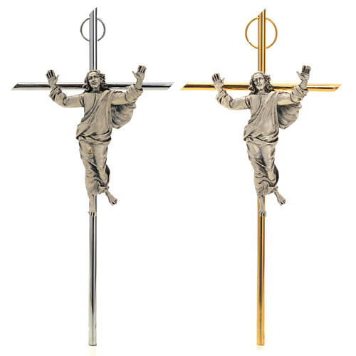 Resurrected Christ Wall Crucifix in silver metal 1