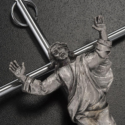 Resurrected Christ Wall Crucifix in silver metal 2