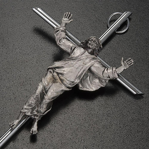 Resurrected Christ Wall Crucifix in silver metal 3