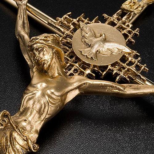 Crucifijo metal dorado Cristo Padre Espíritu Santo 4